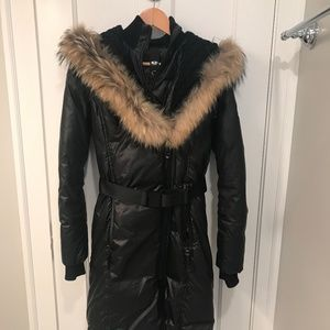 Rudsak Jasmine Belted Down Jacket w Fur Trim Hood